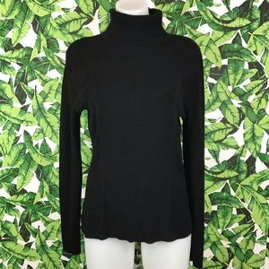 White House Black Market Black Ribbed Turtleneck